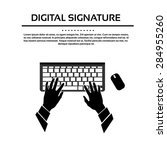 keyboard hand type black white... | Shutterstock .eps vector #284955260