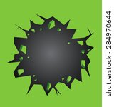 hole cracked in the green wall... | Shutterstock .eps vector #284970644