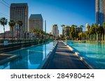 walkway and modern skyscrapers...   Shutterstock . vector #284980424