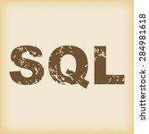 grungy brown icon with text sql ...