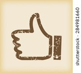 grungy brown icon with thumbs...