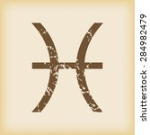 grungy brown icon with pisces...