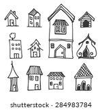 sketch vector set of houses in...   Shutterstock .eps vector #284983784