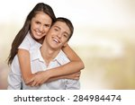 beach  couple  happiness. | Shutterstock . vector #284984474