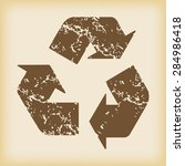 grungy brown icon with recycle...