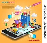 shopping mobile | Shutterstock .eps vector #284990339
