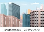 vector city flat illustration | Shutterstock .eps vector #284992970