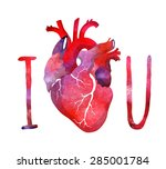 i love you postcard with heart | Shutterstock .eps vector #285001784