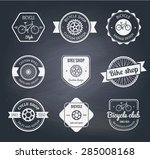 set of  bicycle shop logo... | Shutterstock .eps vector #285008168
