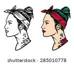 vector girl with tattoos....