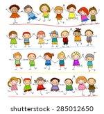 group of sketch kids   Shutterstock .eps vector #285012650