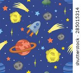 seamless cartoon space pattern... | Shutterstock .eps vector #285015314