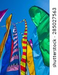 festive  tall  colorful flags... | Shutterstock . vector #285027563