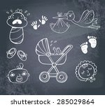 set of hand drawn icons baby... | Shutterstock .eps vector #285029864