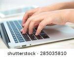 closeup of business woman hand...   Shutterstock . vector #285035810