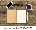 office desk table. top view... | Shutterstock . vector #285040178