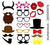 mustaches  lips  eyeglasses ... | Shutterstock .eps vector #285045476