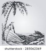 Tropical Island Sketch  Sea...