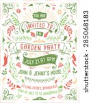 hand drawn summer party... | Shutterstock .eps vector #285068183