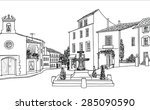 street cafe on old city square. ... | Shutterstock .eps vector #285090590