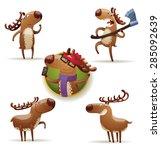 Funny Deers Set  Vector