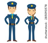 cute police man and woman... | Shutterstock .eps vector #285093578