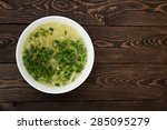 plate of chicken noodle soup on ... | Shutterstock . vector #285095279