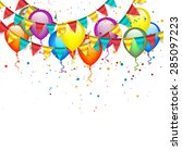 birthday garlands and balloons | Shutterstock .eps vector #285097223
