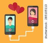 internet dating online flirt...   Shutterstock .eps vector #285105113