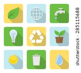 Flat Environment Icons With...