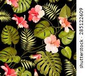 seamless tropical flower.... | Shutterstock .eps vector #285122609