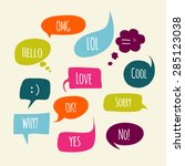 speech bubbles set with short... | Shutterstock .eps vector #285123038