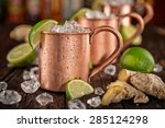Small photo of Cold Moscow Mules - Ginger Beer, lime and Vodka on bar
