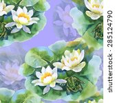 Watercolor White Water Lilly...
