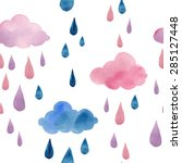 watercolor clouds and rain... | Shutterstock .eps vector #285127448
