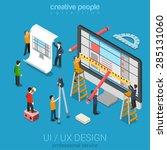 flat 3d isometric desktop ui ux ... | Shutterstock .eps vector #285131060