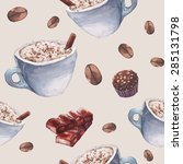 watercolor coffee and sweets... | Shutterstock .eps vector #285131798
