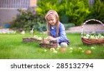 little girl with baskets full... | Shutterstock . vector #285132794