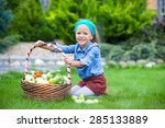 little girl with baskets full... | Shutterstock . vector #285133889