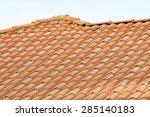 roof tile pattern over blue sky. | Shutterstock . vector #285140183