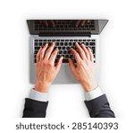 man hands on a laptop keyboard... | Shutterstock . vector #285140393