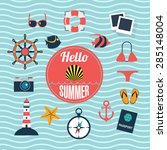 set of flat icons for summer... | Shutterstock .eps vector #285148004