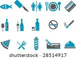 Vector icons pack - Blue Series, bar and restaurant collection - stock vector