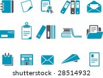 Vector icons pack - Blue Series, paper collection - stock vector