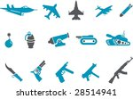 Vector icons pack - Blue Series, weapons collection - stock vector