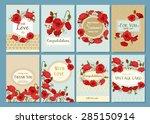 set of summer hand drawn floral ... | Shutterstock .eps vector #285150914