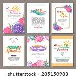 set of summer hand drawn floral ... | Shutterstock .eps vector #285150983
