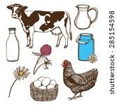 hand drawn farm set. cow  hen ... | Shutterstock .eps vector #285154598