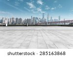 modern skyline and empty road | Shutterstock . vector #285163868
