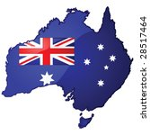 Glossy vector illustration of the map of Australia with the Australian flag inside it - stock vector